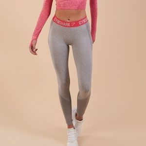 Gymshark flex leggings light grey/ pink sherbet